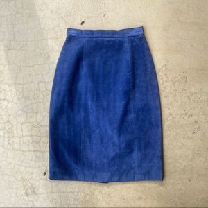 Vintage 90's G III Blue Suede Leather Pencil Skirt